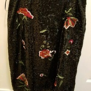 Maeve for Anthropologie Sequin Floral Skirt